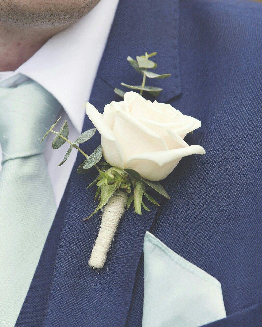 Simple But Stunning White Rose Eucalyptus Onhole Www Weddingandevents Co Uk North