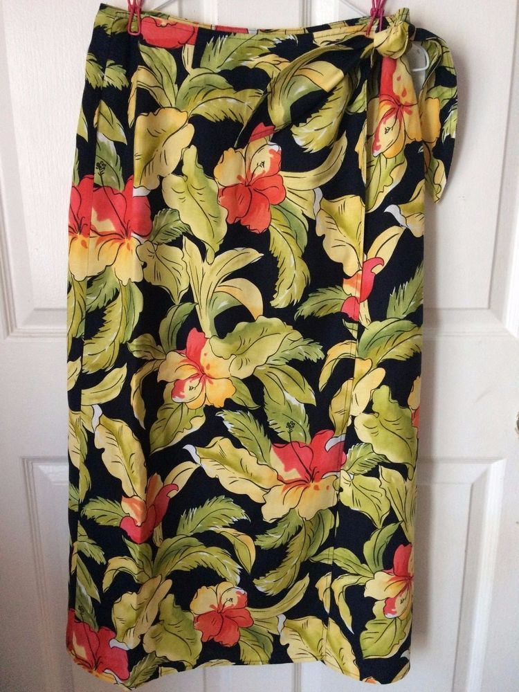 f9801d4bb2d Talbots Tropical Floral Linen Blend Long Wrap Sarong Maxi Skirt Women s  Petite 8  Talbots  Sarong