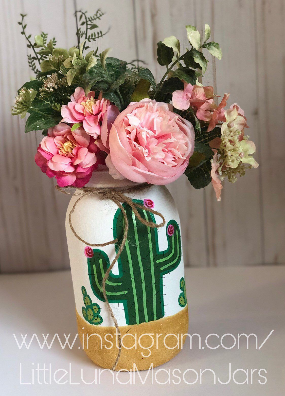 Pint size cactus style glass jar(s), cactus office decor, baby shower decor, nursery decorations, cactus office organizer, teacher gift