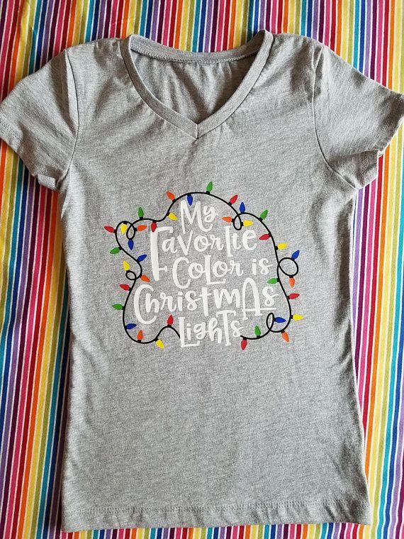 kids christmas shirt girls christmas shirt my favorite color is christmas lights christmas - Christmas Shirts For Girls