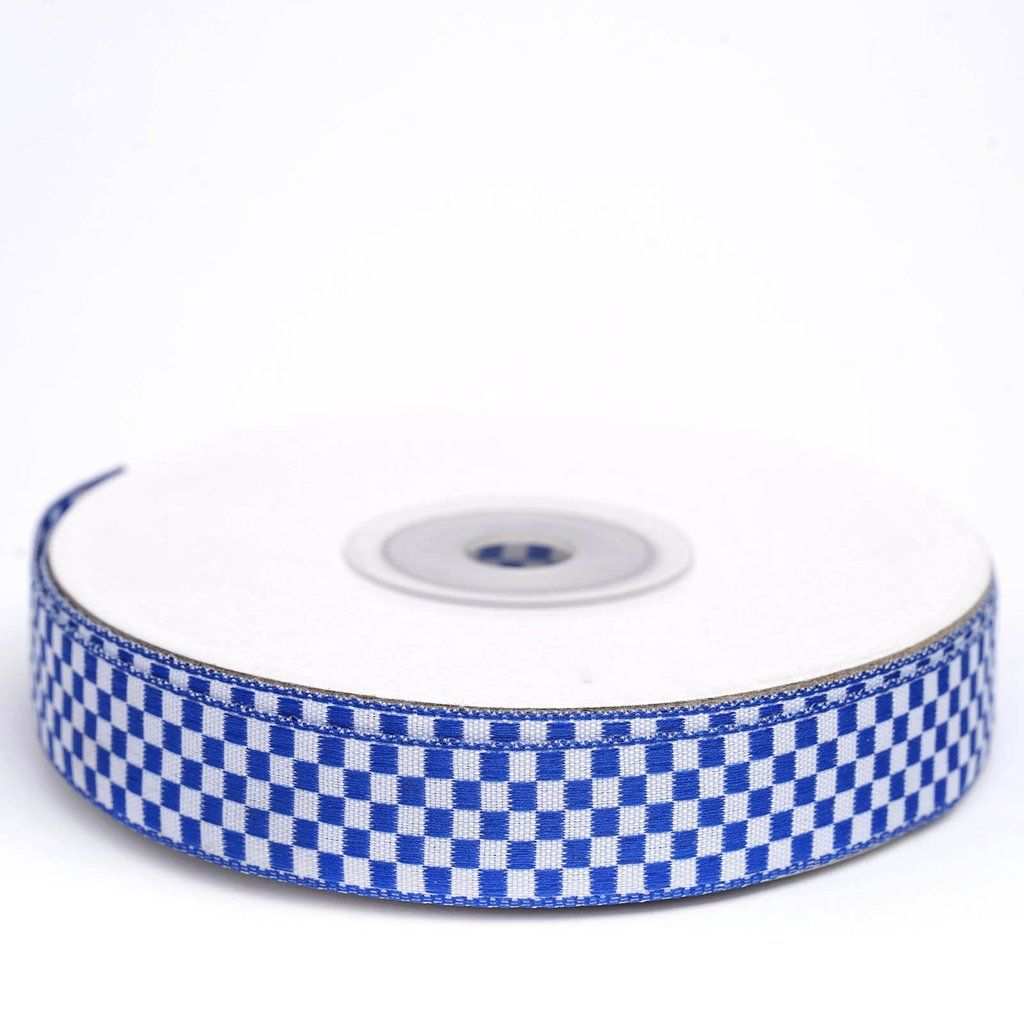 25 Yards 5 8 Quot Royal Blue Gingham Checkered Ribbon Blue