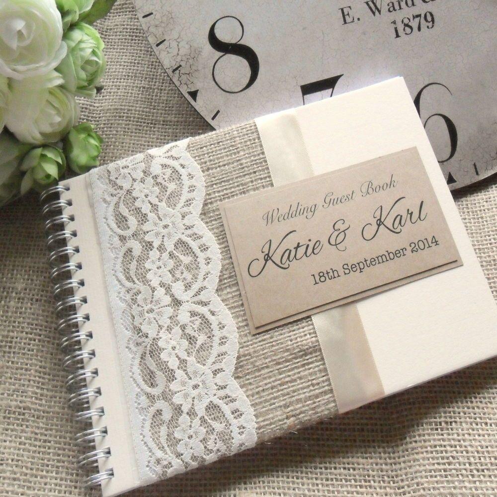 Hessianburlap lace wedding guest book  handmade u personalised