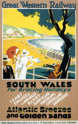 South Wales For Bracing Holidays U K Vintage Travel Poster Art Deco Beach Great Western Railway Poster C Railway Posters Vintage Travel Posters Poster