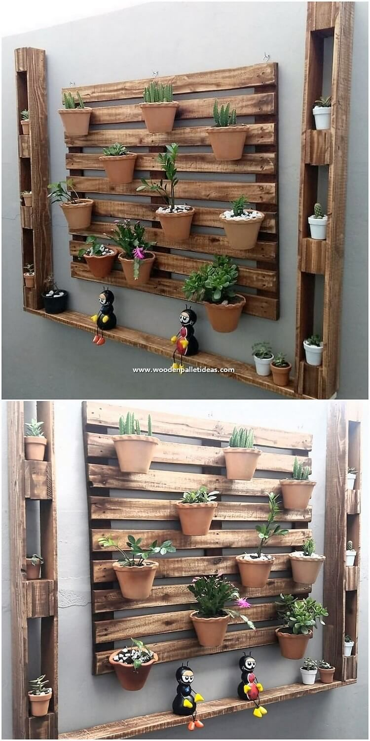This Wall Planter Designing Of The Wood Pallet Has Been All