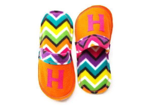Chevron Women Slippers Las Personalized Monogrammed House Shoes Scuffs Fleece Felt Orange