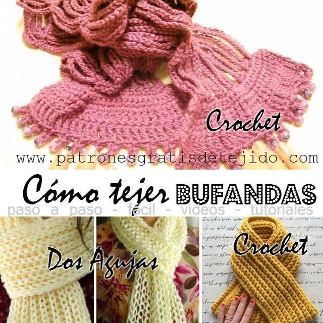 4 tutoriales de bufandas para tejer en dos agujas y crochet ... 6d5700e5b265