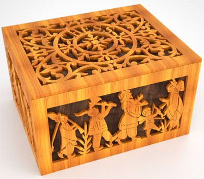 Craft Boxes Wooden Chess Motif