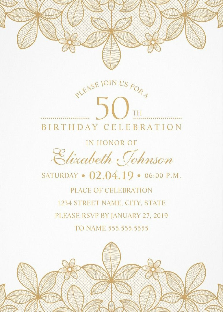 Golden Lace 50th Birthday Invitations - Elegant Luxury Cards | 50th ...