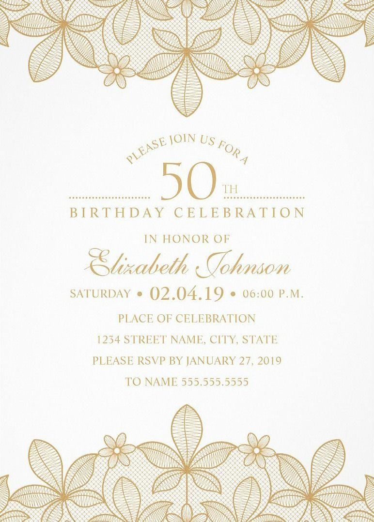 Golden lace 50th birthday invitations elegant luxury cards 50th golden lace 50th birthday invitations elegant luxury cards filmwisefo Choice Image