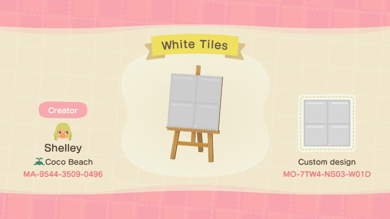 Plain White Tiles Animal Crossing New Horizons Acnh New Animal Crossing Animal Crossing 3ds Animal Crossing Game