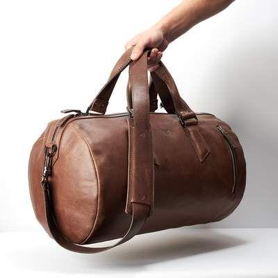 8f00427f34 Brown leather duffle bag for mens gifts. Shoulder gym bag