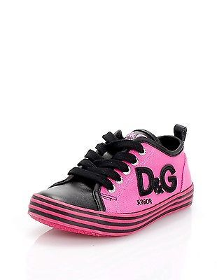 14ab12a9 DOLCE&GABBANA JUNIOR Girl's Leather Canvas Two-Toned Lace-Up ...