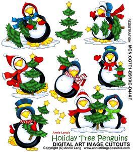 Holiday Tree Penguins Cutouts