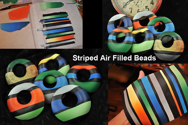 Striped Air Filled Beads
