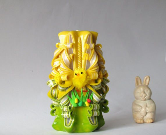Candle Easter Yellow Lime Carved Candle Easter Decor Yellow Chicken Unique  Candle Spring Candle Easter Gift