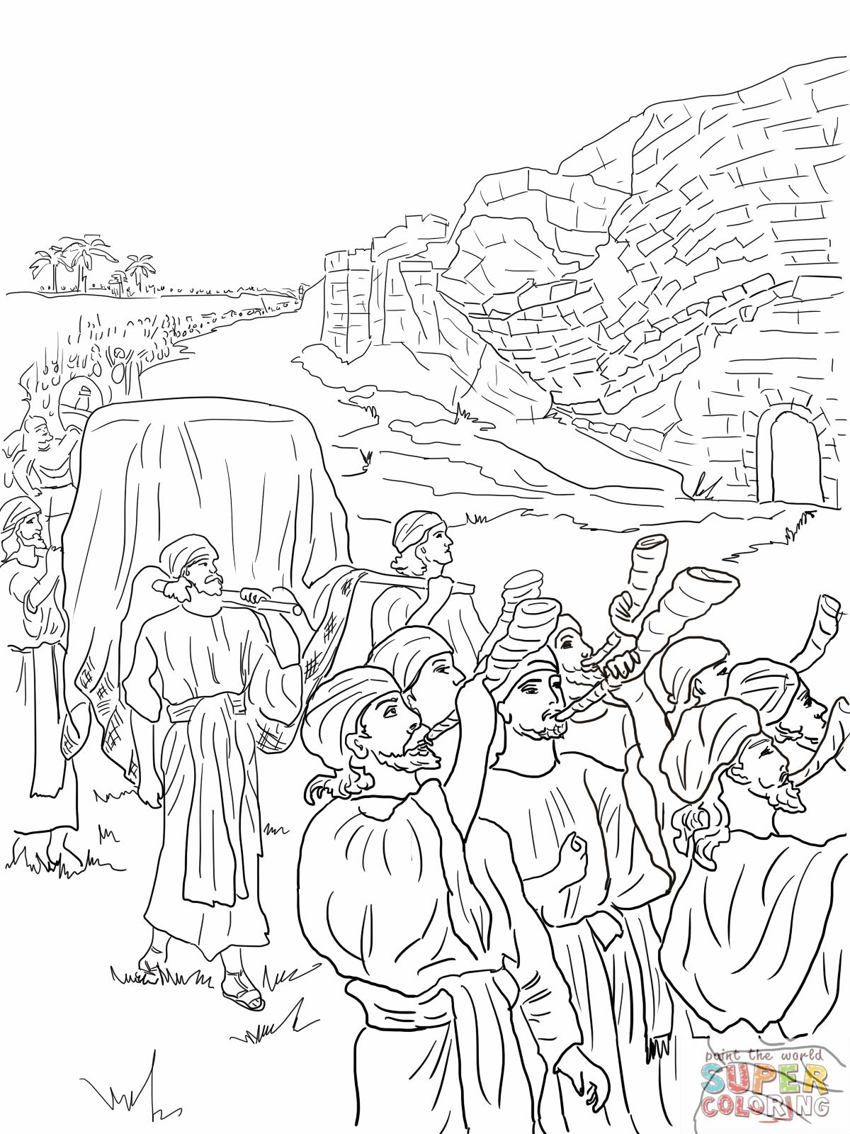 Joshua and the fall of Jericho. Bible coloring pages.  Sunday
