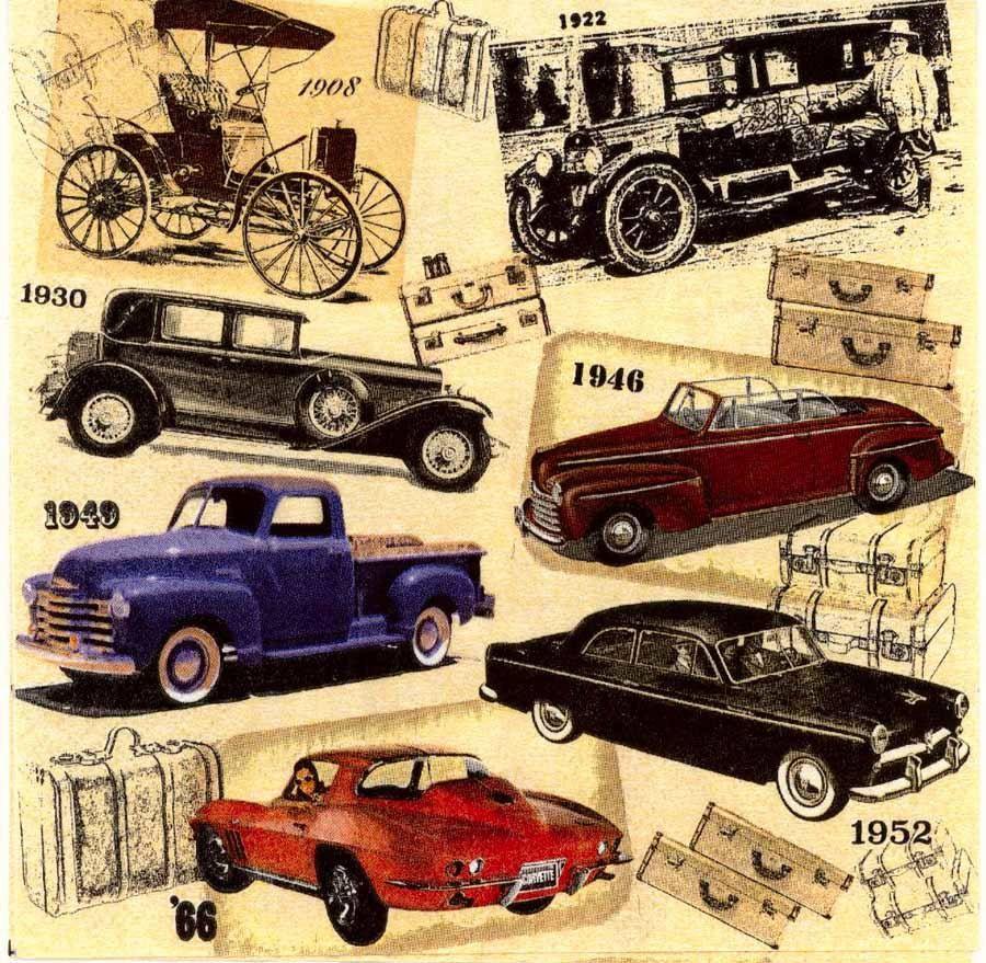 4 Servilletas De Decoupage Coches Clasicos Servilletas Vintage