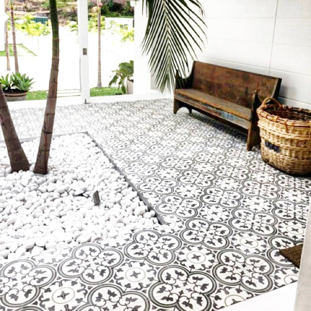 Tile inspo jatanainteriors outside pinterest tile love all the white with warm wood accents and simple palms love the tile flooring and white rocks dailygadgetfo Images