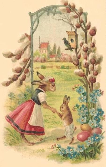 Free Clip Art Antique Victorian Easter Postcard Images Bunnies Eggs And Sweet Chicks Easter Postcards Easter Graphics Vintage Easter Cards