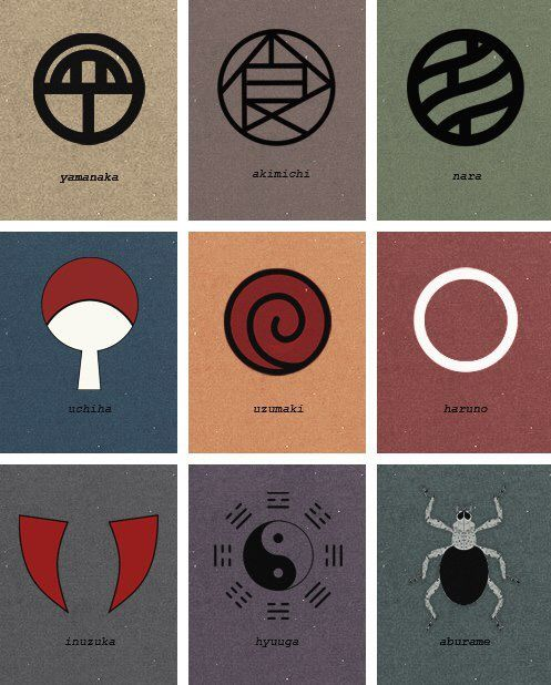 Clan Symbols Of The Hidden Leaf Village There Is No Such Thing As Haruno Clan Naruto Kakashi Naruto Clans Naruto Shippudden