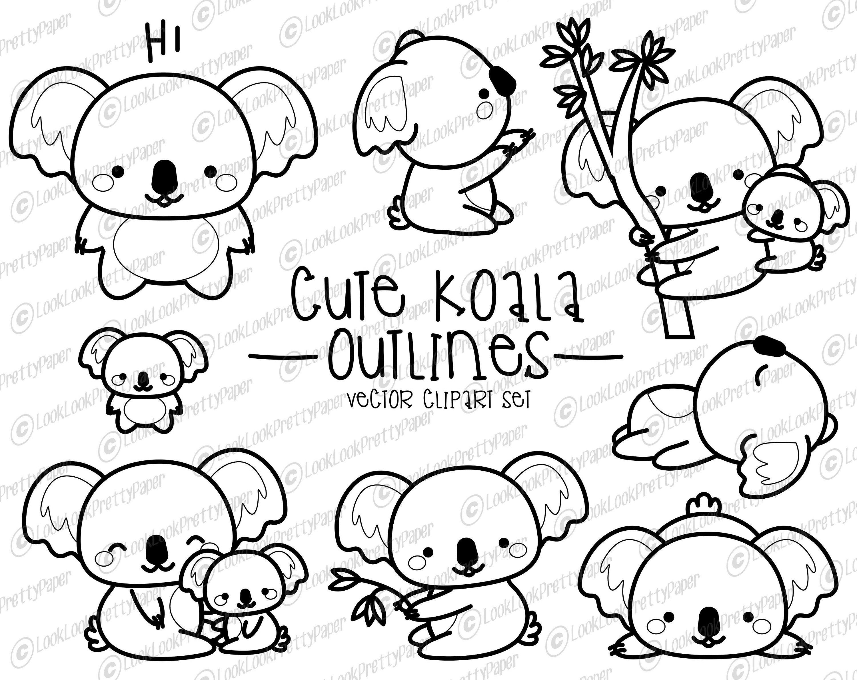 Premium Vector Clipart Kawaii Koala Outlines Cute Koalas Outlines Clipart Set High Quality Vectors Instant Download Cute Doodle Art Koala Drawing Clip Art
