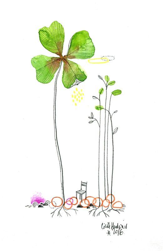 Trefle Aquarelle Cecile Hudrisier Dessin Floral Dessin