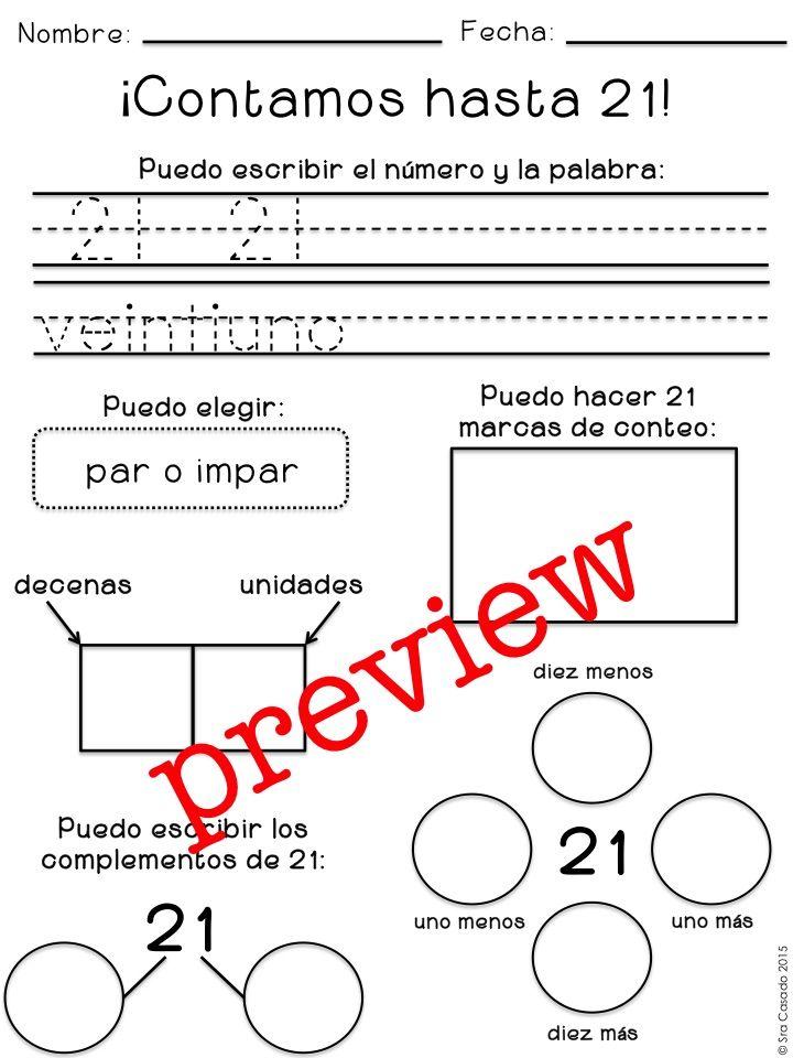 Printable Worksheets spanish worksheets numbers : Numbers 21-50: identification, writing, drawing representation in ...