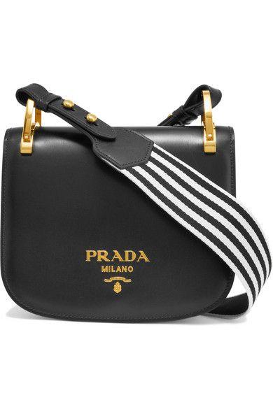 26ae313de0ae PRADA Pionnière Canvas-Trimmed Leather Shoulder Bag. #prada #bags #shoulder  bags #leather #canvas #