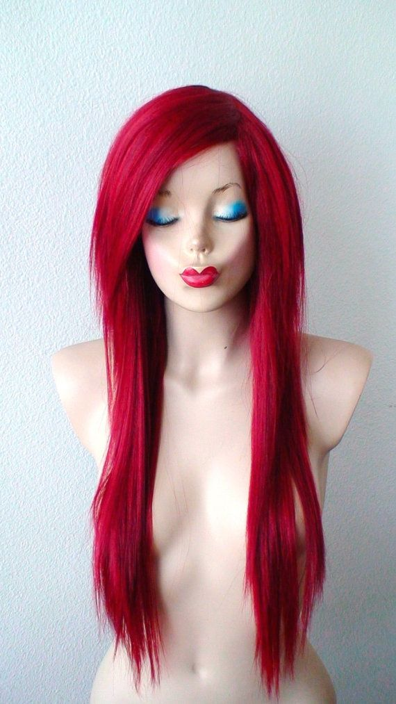 Wine red wig. Long straight hairstyle wig. Durable heat ...