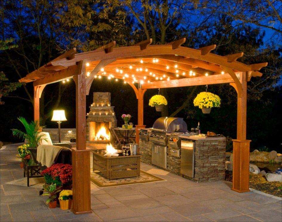 Kitchen Impressive Pergola Lighting Modern Patio Kitchen Design Prepossessing Patio Kitchen Designs Inspiration