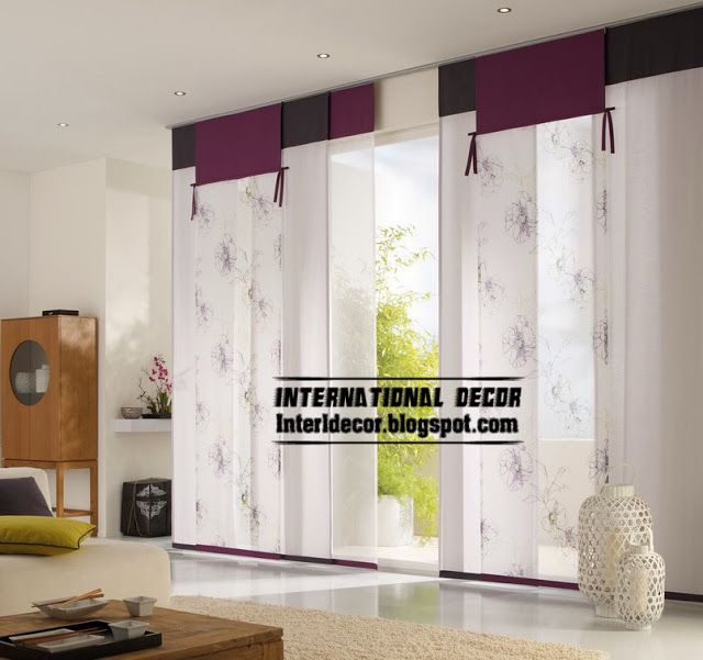 Modern Japanese Curtains In Purple For Interior Door