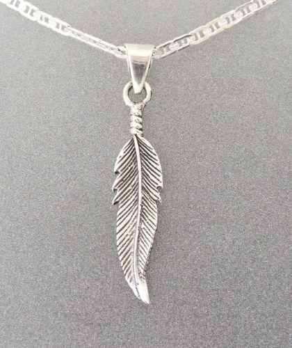 "18/"" Cadena De Plata Colgante de plumas de plata esterlina 925"