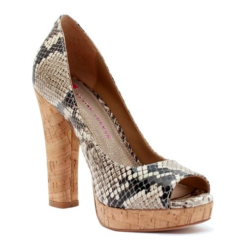tpython, cork heel adds an exotic touch and the peep toe accents summer's freshest pedi hues.