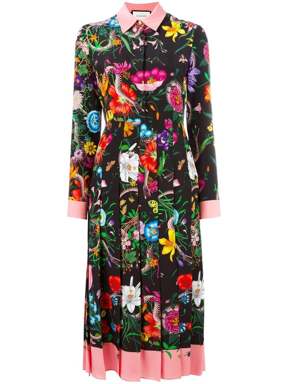Gucci Seidenkleid Mit Blumen-Print - Farfetch  Damenkleider