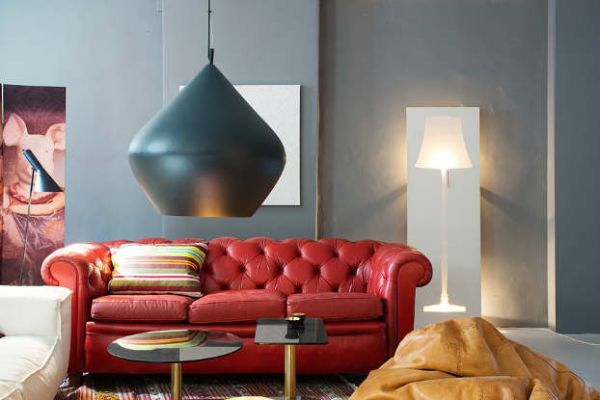 living room with red leather couch - Google Search