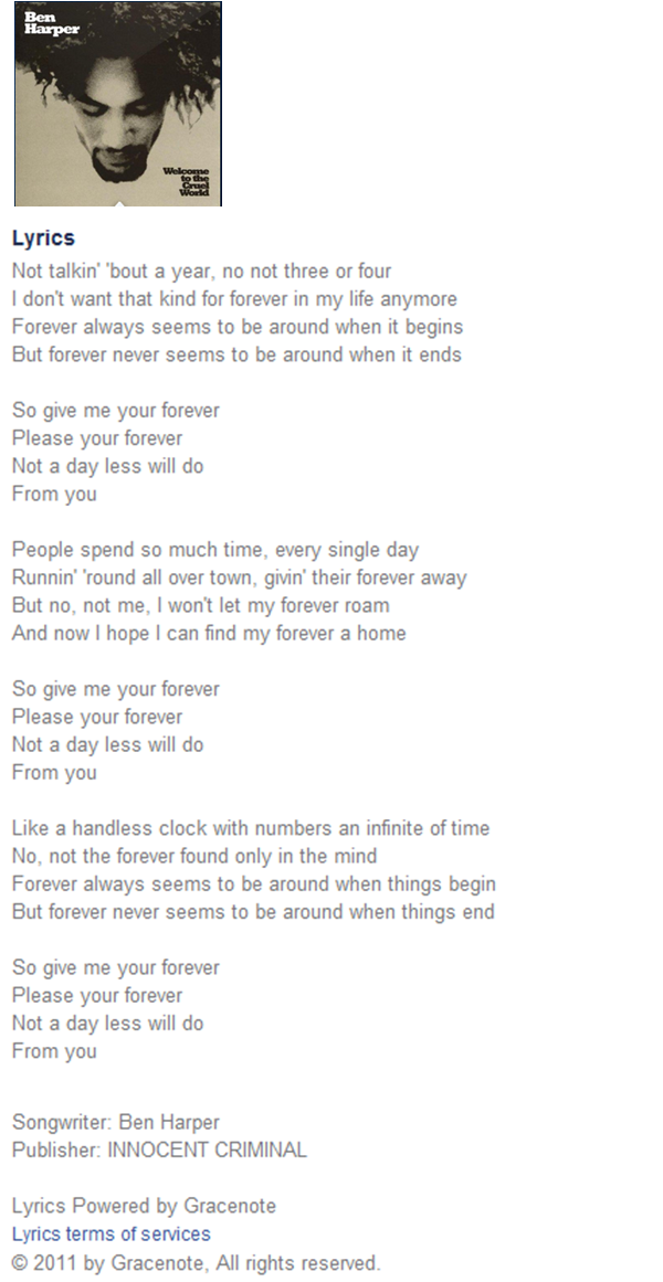 Lyric songs with numbers in lyrics : Ben Harper - Forever | Ben Harper | Pinterest