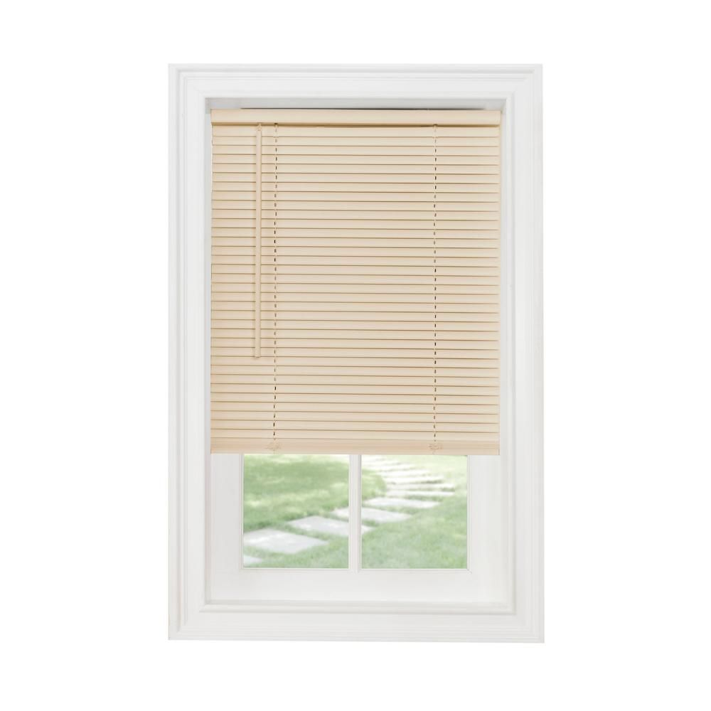 Achim Gii Morningstar 1 In Alabaster Cordless Light Filtering Mini Vinyl Blind With 1 In Slats 64 In W X 64 In L Blinds For Windows Mini Blinds Vinyl Blinds