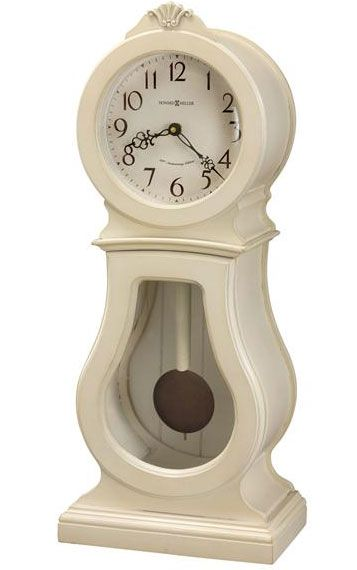 The Howard Miller Audrey 635 163 White Chiming Mantel Clock Is A Traditional Wooden Mantel Clock That Features A Shell Carvin Mantel Clock Mantel Clocks Clock