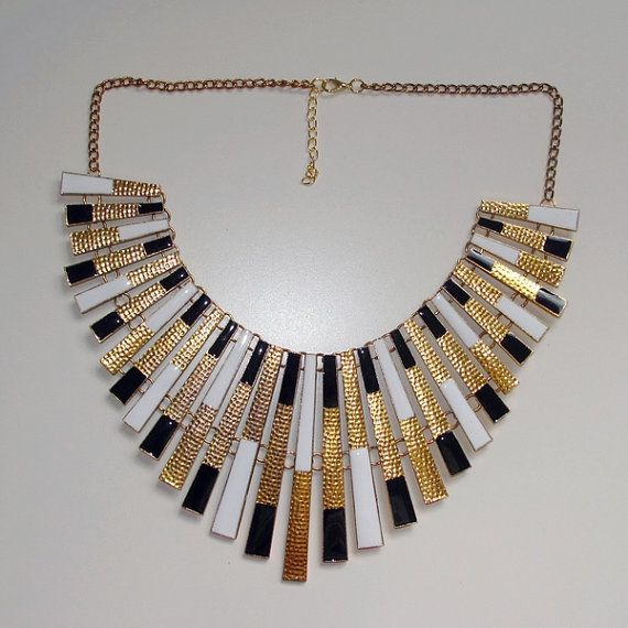 bold statement necklace modern metal necklace by MedeaBoutique