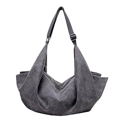cf652baede0a Women s Canvas Boat Shape Slouchy Hobos Tote Shoulder Bag