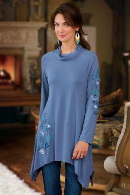 afec35d7f Petites Amelia Tunic - Embroidered Tunic, Flattering Tunic, Cowl Neck Tunic    Soft Surroundings