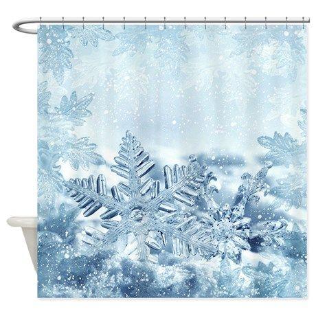 Snowflake Crystals Shower Curtain By Fantasyartdesigns Christmas