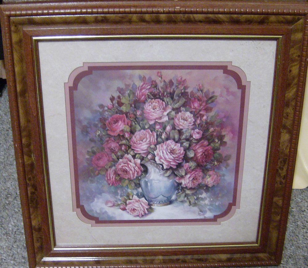 homco home interiors retired 185 picture roses blue vase julia crainer frame