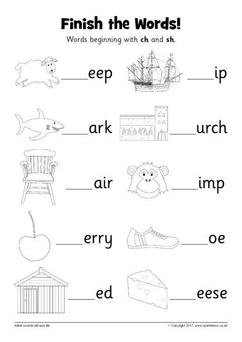 Finish The Words Worksheets Ch And Sh Sb12226 Sparklebox Phonics Worksheets Phonics Phonics Activities Sh and ch worksheets