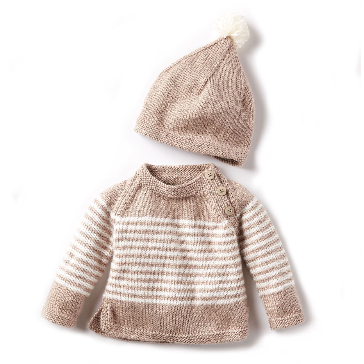 1fd928ece398 Bernat Wee Stripes Knit Pullover and Hat