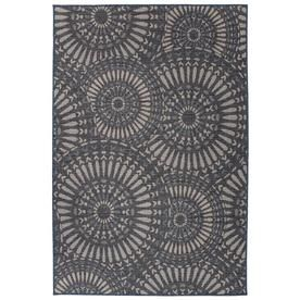 Photo of World Rug Gallery Patio Blue Indoor/Outdoor Mid-Century Modern Area Rug (Common: 5 x 7; Actual: 5-ft W x 7-ft L) at Lowes.com
