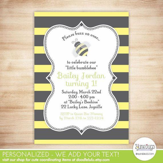 Bumblebee birthday invitation bee birthday party invite bumble bee bumblebee birthday invitation bee birthday party invite bumble bee party invitation 1st first filmwisefo Images