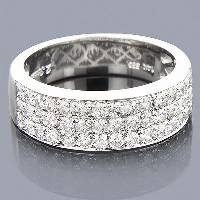 Men S 3 Row Wedding Band In White Gold Rings Jewelry Wedding