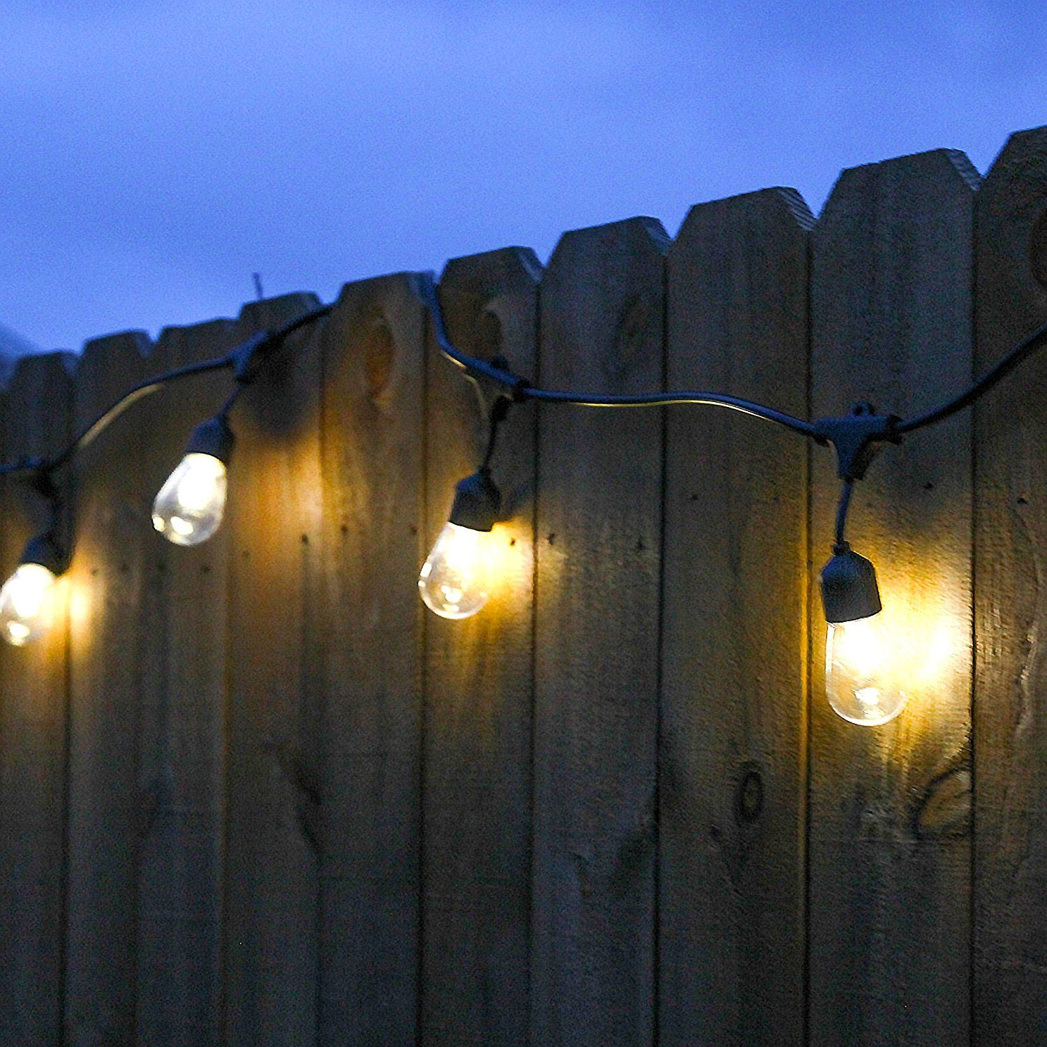 Outdoor String Lights With Edison Vintage 15 S14 Bulbs