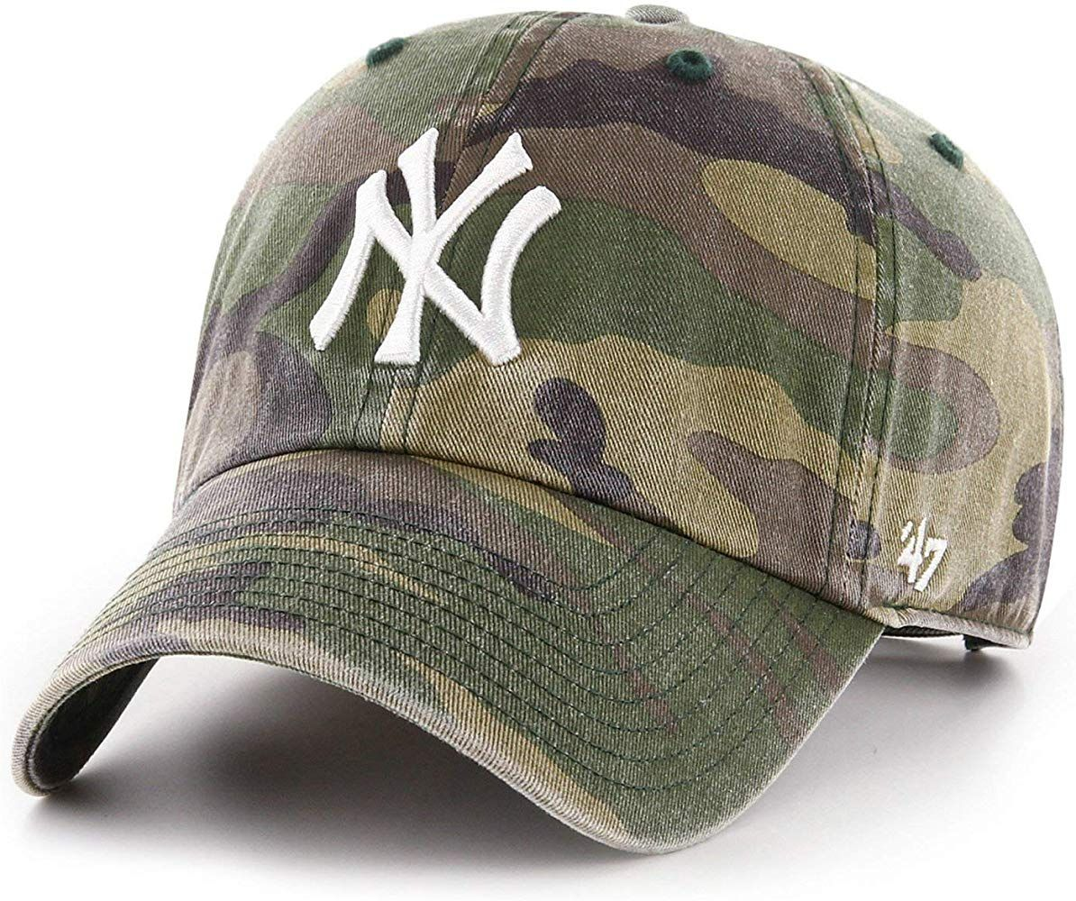 Amazon Com 47 Brand New York Yankees Clean Up Hat Cap Army Camo White Clothing Adjustable Hat Yankees 47 Brand